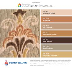 I found these colors with ColorSnap® Visualizer for iPhone by Sherwin-Williams: Aristocrat Peach (SW 0027), Armagnac (SW 6354), Wickerwork (SW 0010), Rookwood Amber (SW 2817), Rojo Marrón (SW 9182), Studio Taupe (SW 7549), Tarnished Trumpet (SW 9026).