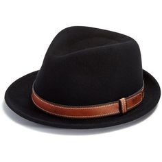 Bailey of Hollywood Dodgson Fedora Hat (340 BRL) ❤ liked on Polyvore featuring men's fashion, men's accessories, men's hats, black, mens wool fedora hats, mens wool hats and mens fedora hats