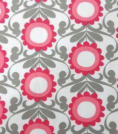 Koko Lee™ Cotton Fabric-Linear Flowers On White
