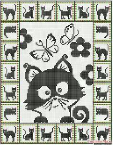 19 ideas for crochet cat pattern posts Cat Cross Stitches, Cross Stitch Charts, Cross Stitch Designs, Cross Stitching, Cross Stitch Embroidery, Cross Stitch Patterns, Embroidery Patterns, Hand Embroidery, Gato Crochet