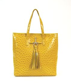 Ana Ostrich Tote in cheerful Mustard color.