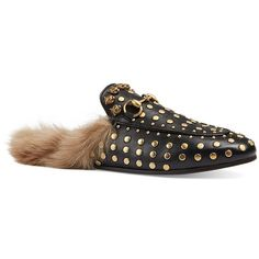 Gucci Princetown Studded Leather & Fur Loafer Slides ($1,190) ❤ liked on Polyvore featuring shoes, loafers, apparel & accessories, gucci, fur shoes, slip-on loafers, gucci footwear and fur lined slip on shoes