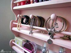 Spice Rack to Jewelry Holder DIY tutorial. Brilliant! #organization #cbias