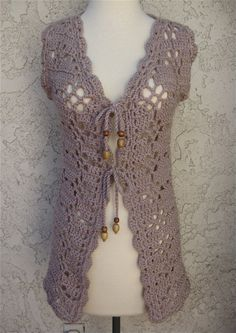 Lilac Boho Crocheted Vest with Wooden Bead Tie detail by karenkell