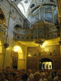 l'organo e la Basilica gremita per una funzione