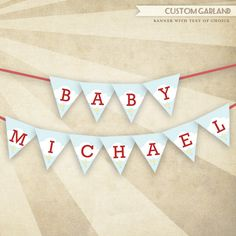 Cars & Airplanes Baby Shower - CUSTOM PRINTABLE Baby Name Garland. $9.50, via Etsy.