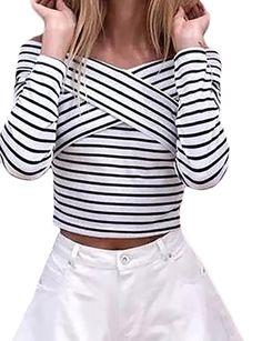 4ef82253960b T Shirt Femme Encolure Bateau Épaules Nues Dos Nu Manches Longues  Blanc-Noir Vintage Rayures