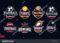 Mega set of colorful sports logos tennis, soccer, american football, volleyball, bowling, rugby, billiards. Vector abstract isolated illustration