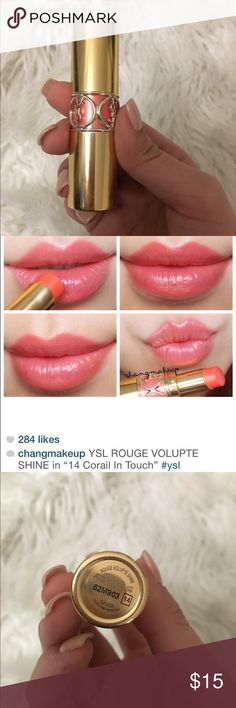 YSL Rouge Volupte Shine Lipstick- No.14 *AUTHENTIC* a pretty coral color lipstick from YSL. Really easy to apply and goes with every look! I have only worn it a few times so its as good as new! Yves Saint Laurent Makeup Lipstick
