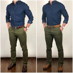 Which belt and shoes would you wear with this outfit❓Dark brown 👞 or lighter brown 🏉❓🤔🤔 Shoes: Left - Brown Broadway Right - Chestnut Broadway Belts: Left - Chocolate Vegetable Tanned strap Right - Light Brown Vegetable Tanned strap Shirt and pants: Simple Casual Outfits, Stylish Mens Outfits, Men Casual, Pantalon Vert Olive, Green Jeans Outfit, Blue Shirt Outfit Men, Green Pants Men, Formal Men Outfit, Style Masculin