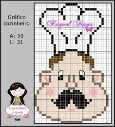 Gráfico cozinheiro Needlepoint Patterns, Embroidery Patterns, Cross Stitch Patterns, Hama Beads Disney, Cross Stitch Kitchen, Tapestry Crochet, Pearler Beads, C2c, Crafts To Do