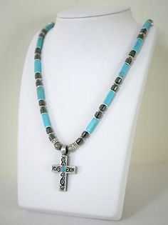 Men's Turquoise and Hematite Cross Necklace Masculine by Karenda