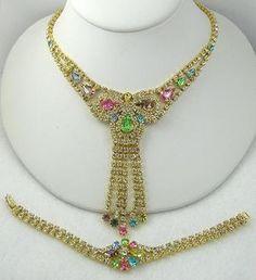 Vintage Pastel Rhinestone Demi-Parure - Garden Party Collection Vintage Jewelry