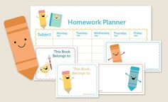 FREE Printable Back to School Kit with: Weekly Homework Planner Book Labels Name Labels (or you can use them as lunch notes) Bookmarks Homework Calendar, Homework Planner, Homework Organization, School Calendar, Homework Chart, Homework Log, School Planner, Organization Ideas, First Day Of School