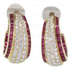 VAN CLEEF & ARPELS Vintage 18k Gold Diamond Ruby Clip-On Earrings #VanCleefArpels #EarCuffsWraps