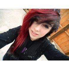 Gallery For > Half Black Half Red Scene Hair