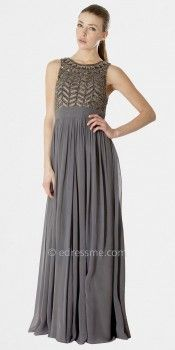 Chevron Embellish Evening Dress by JS Collections