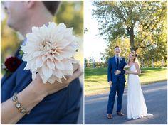Single flower bouquet. Nassau Valley Vineyard Delaware Wedding. Laura's Focus Photography.