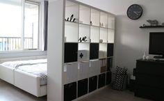 Idee voor zolderkamer? Scheiding bed en teken/werkhoekje (kast die ik heb mogelijk als scheidingswand gebruiken)..maar misschien wordt de kamer erg klein?