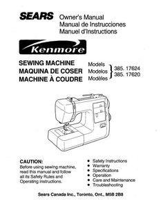Kenmore 385.17624 Sewing Machine Instruction Manual.   Examples include: * Threading machine. * Bobbin winding. * Thread tension adjustment. * Changing the needle. * Twin needle stitches. * Additional spool pin. * Reverse stitch control. * Stitch selector. * Adjust the needle thread tension for zigzag stitch. * Removing the hook cover plate. * Available accessories and attachments. * Operating instructions. * Maintenance. * Troubleshooting.