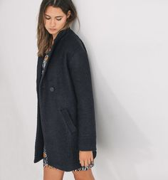 Cappotto in tweed nero - Promod