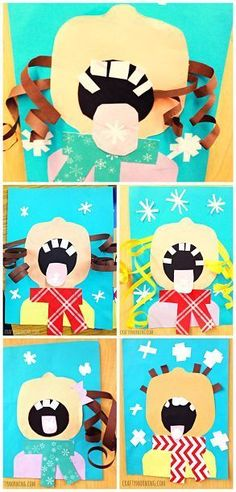 Children Catching Snowflakes on their Tongue (Winter Craft for Kids) - Comes with a free printable template too! | CraftyMorning.com