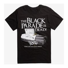 My Chemical Romance The Black Parade Is Dead T-Shirt ❤ liked on Polyvore featuring tops, t-shirts, cotton t shirts, long length t shirts, cotton tees, long t shirt and long cotton tops