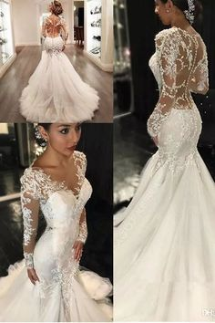 Ivory Wedding Dresses, Long Wedding Dresses, Long Sleeves Mermaid Tulle Sexy Long Ivory Wedding Dresses/Bridal Gown Source by Wedding Dresses 2018, Wedding Dresses Plus Size, Bridal Dresses, Ivory Wedding, Tulle Wedding, Mermaid Wedding, Long Sleeve Wedding, Mermaid Dresses, Marie