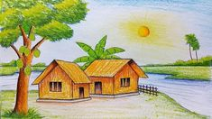 Easy Scenery Drawings Drawing Scenery Pictures Easy Scenery Drawing Painting How To Draw Scenery Drawing Pencil, Beautiful Scenery Drawing, Scenery Drawing For Kids, Art Drawings For Kids, Easy Drawings, Pencil Drawings, Drawing Ideas, Colour Pencil Drawing, Hipster Drawings