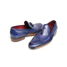 Paul Parkman Men's Side Handsewn Tassel Loafer Blue & Purple (ID#082-BLU-PURP)