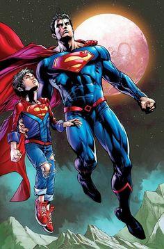 DC Superman Moon and Muscled aka Clark Kent & Conner Kent aka Superboy His Son Mundo Superman, Superman Family, Superman Man Of Steel, Batman Vs Superman, Comic Book Characters, Comic Character, Comic Books Art, Arte Dc Comics, Clark Kent