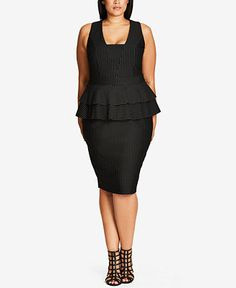City Chic Trendy Plus Size Pinstriped Peplum Dress - Dresses - Plus Sizes - Macy's