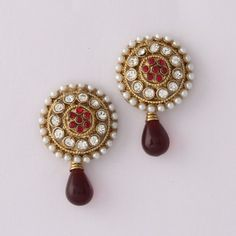 Maroon Diamond Earring By Varaition