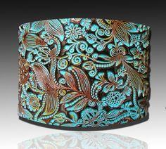 Flower doodle polymer clay cuff bracelet door adrianaallenllc, $16.00 (polymeerklei/acrylverf/zilverklei/gilders/paste)