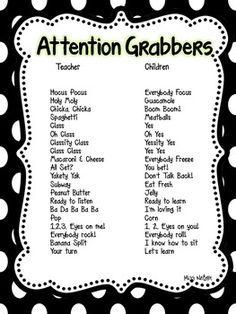 ATTENTION GETTERS, GRABBERS AND MORE! - TeachersPayTeachers.com