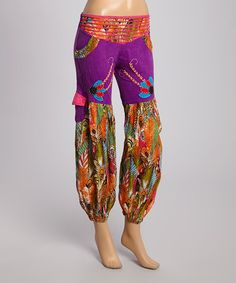 Look at this #zulilyfind! Purple Embroidered Feather Harem Pants by Rising International #zulilyfinds
