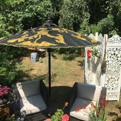 Large Size Luxury Garden parasol Black and Gold.One of our stunning designs. From Burma now Myanmar Outdoor Events, Outdoor Decor, Uk Summer, Large Umbrella, Garden Parasols, May Designs, Outdoor Restaurant, Garden Show, Paradise Island