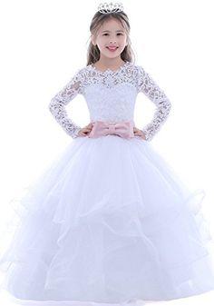 Dobelove Girls White Ball Gown Pageant Dress,Long Sleeves First Communion Dress