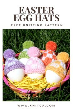 Easter egg hats - free knitting pattern