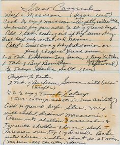 """""""My own, all the way."""" I think it's true--I haven't found anything quite like it. From the box of L.R. from Winston-Salem, North Carolina. Great Casserole Beef + Macaroni (Serves 4-5) Cook 3/4 cup ..."""