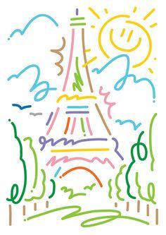Eiffel Tower, Colette, Souvenirs de Paris c-printed postcards. Three out of eight drawings for the 'Souvenir de Paris' series of postcards I recently drew for Paris based concept store Colette. Paris Art, I Love Paris, Oui Oui, Cute Illustration, Wall Collage, Oeuvre D'art, Art Inspo, Illustrators, Graphic Art