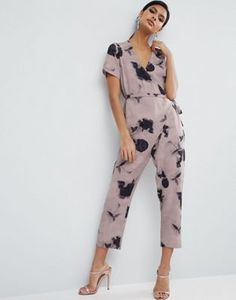 ASOS Jumpsuit with Wrap and Self Tie Detail in Floral Print