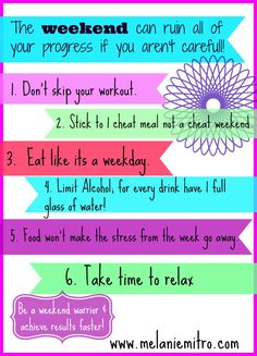 Weekend Fitness tips Via www.melaniemitro.com