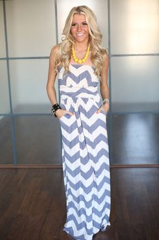 Heavenly Chevron Maxi Gray - Modern Vintage Boutique