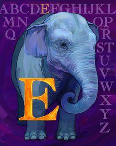 E Elephant Alphabet Print 8x10 Signed