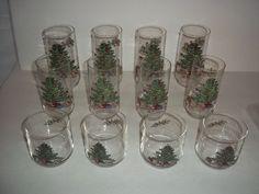 12 Libbey Christmas Tree Glasses Three Sizes  #Libbey