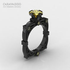 Caravaggio 14K Black Gold 1.5 Ct Princess Yellow Sapphire Engagement Ring R630-14KBGYS