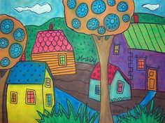 """12""""x9"""", Yellow House, original oil pastel on 98lb canson paper, copyrighted, www.karlagerard.com"""