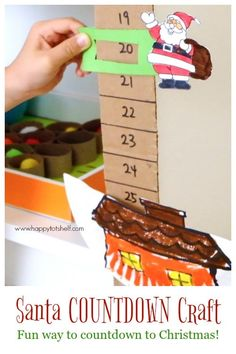 Absolutely FUN way to countdown to Christmas with this Santa Countdown Craft! Move the Santa slider down and countdown the number of days to Christmas! Christmas Countdown Crafts, Countdown For Kids, Easy Christmas Crafts For Toddlers, Santa Countdown, Printable Christmas Cards, Preschool Christmas, Toddler Christmas, Christmas Activities, Xmas Crafts