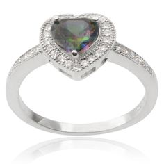 Journee Collection Sterling Silver Mystic Topaz Cubic Zirconia Heart Ring (Silver, 9), Women's, White